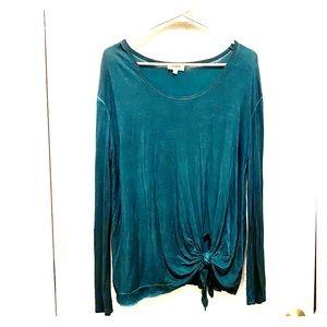 umgee Blue/Green Distressed Shirt